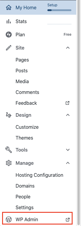 Image of your Wordpress Admin menu with a red box around WP Admin link at the bottom.