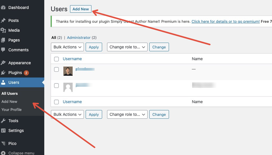 A red arrow points to Add New under All Users in the lefthand Menu. Another red arrow pointing to the blue box Add New next to the Users heading.